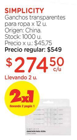 Oferta de Ganchos transparentes para ropa x 12 u. por $274,5