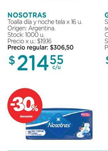 Oferta de Toallas Femenina Nosotras Día y Noche x 16 un por $214,55