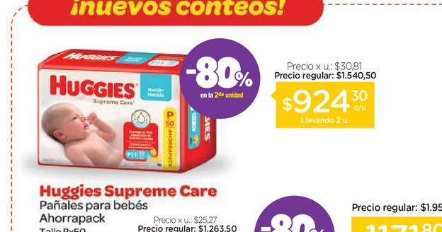Oferta de Pañales Huggies Supreme Care Unisex Ahorrapack por $924,3