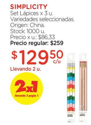 Oferta de Set Lápices x 3 u. por $129,5