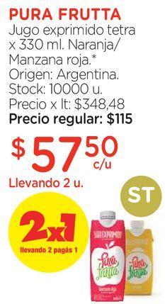 Oferta de Jugo exprimido tetra x 330 ml. por $57,5