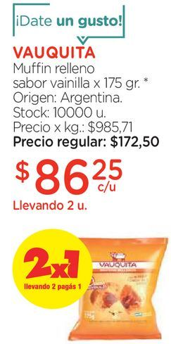 Oferta de Muffin relleno sabor vainilla x 175 gr. por $86,25