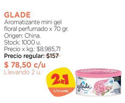 Oferta de Aromatizante mini gel floral perfumado x 70 gr. por $78,5