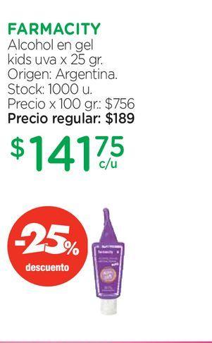 Oferta de Alcohol en Gel Farmacity Kids Uva x 25 g por $141,75