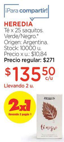 Oferta de Té x 25 saquitos Verde/ Negro por $135,5