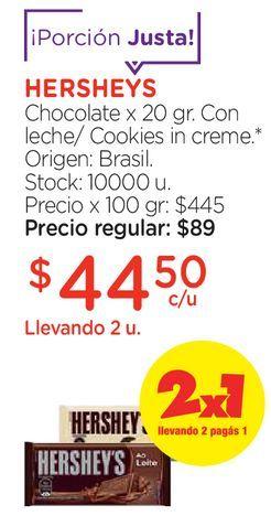 Oferta de Chocolate x 20 gr. por $44,5