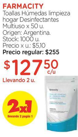 Oferta de Toallas Húmedas limpieza hogar Desinfectantes Multiuso x 50 u. por $127,5
