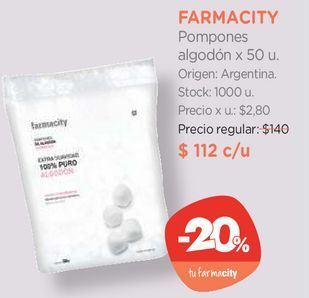 Oferta de Pompones algodón x 50 u. por $112