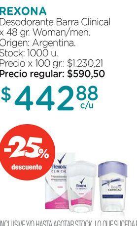 Oferta de Desodorante Antitranspirante Rexona Clinical Classic Women en crema x 48 g por $442,88