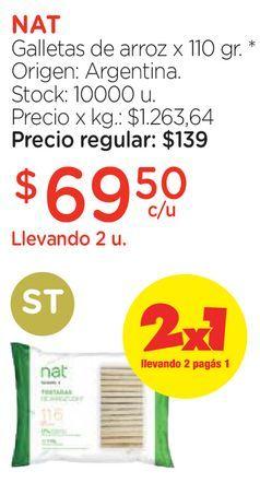 Oferta de Galletas de arroz x 110 gr. por $69,5