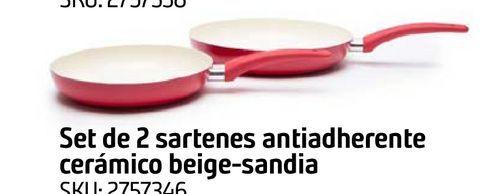 Oferta de SETX2 SARTEN CERAMIC BEIGE SANDIA por $4799