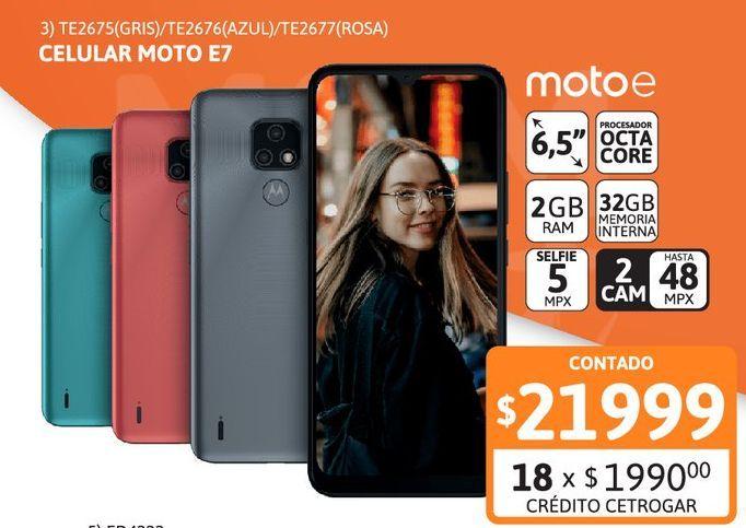 """Oferta de Celular Motorola E7 6.5"""" 2/32 48M Rosa Coral por $21999"""