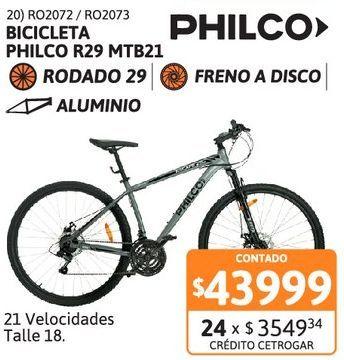 Oferta de Bicic Philco R29 MTB21v T18 Al FD GR/AM por $43999