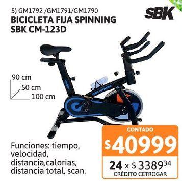Oferta de Bicicleta fija spinning SBK CM-123D AZL por $40999
