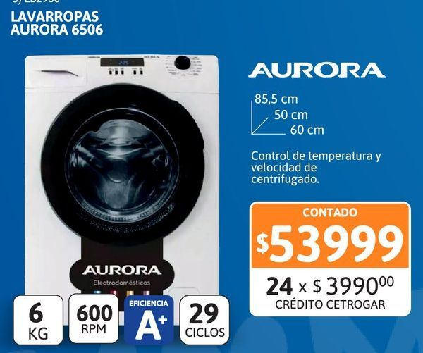 Oferta de Lavarr Aurora 6506 6kg 600 r.p.m por $53999