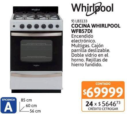 Oferta de Cocina Whirlpool WFB57DI Bl 4h e/elec 55 por $69999
