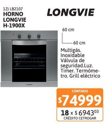 Oferta de Horno Longvie H-1900X Inox grill ele gas por $74999