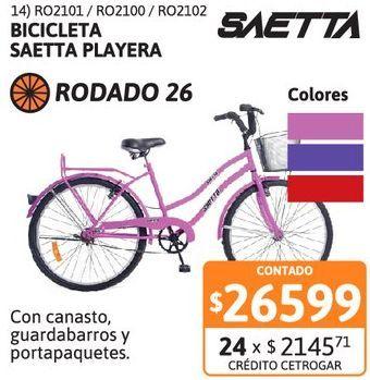 Oferta de Bicic Saetta R26 playera Dama Fucsia por $26599
