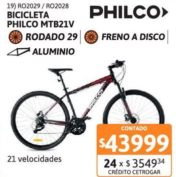 Oferta de Bicic Philco R29 MTB21v Escape T18 Al FD NG/RJ por $43999