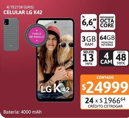 """Oferta de Celular LG K42 6.6"""" 3/64 13MP Gris por $24999"""
