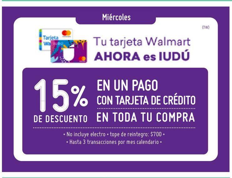 Oferta de Tarjeta Wallmart Iudú -15% por