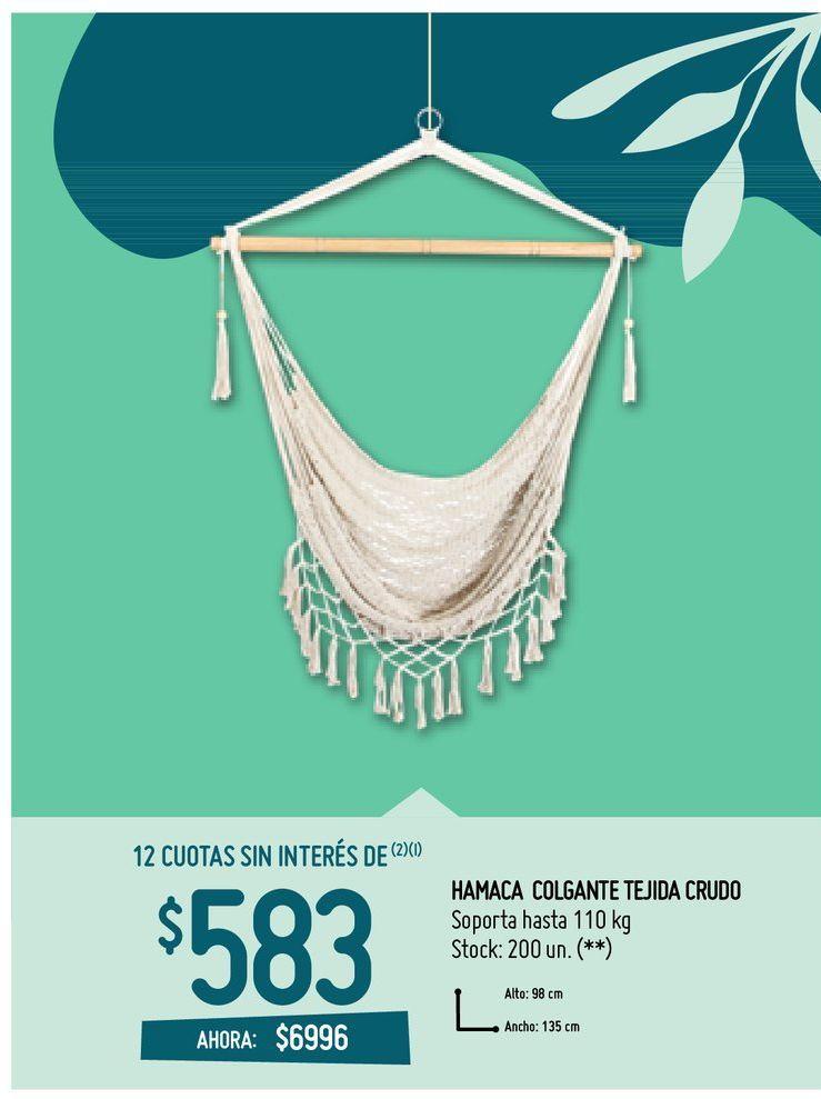 Oferta de HAMACA COLGANTE TEJIDA CRUDO por $6996