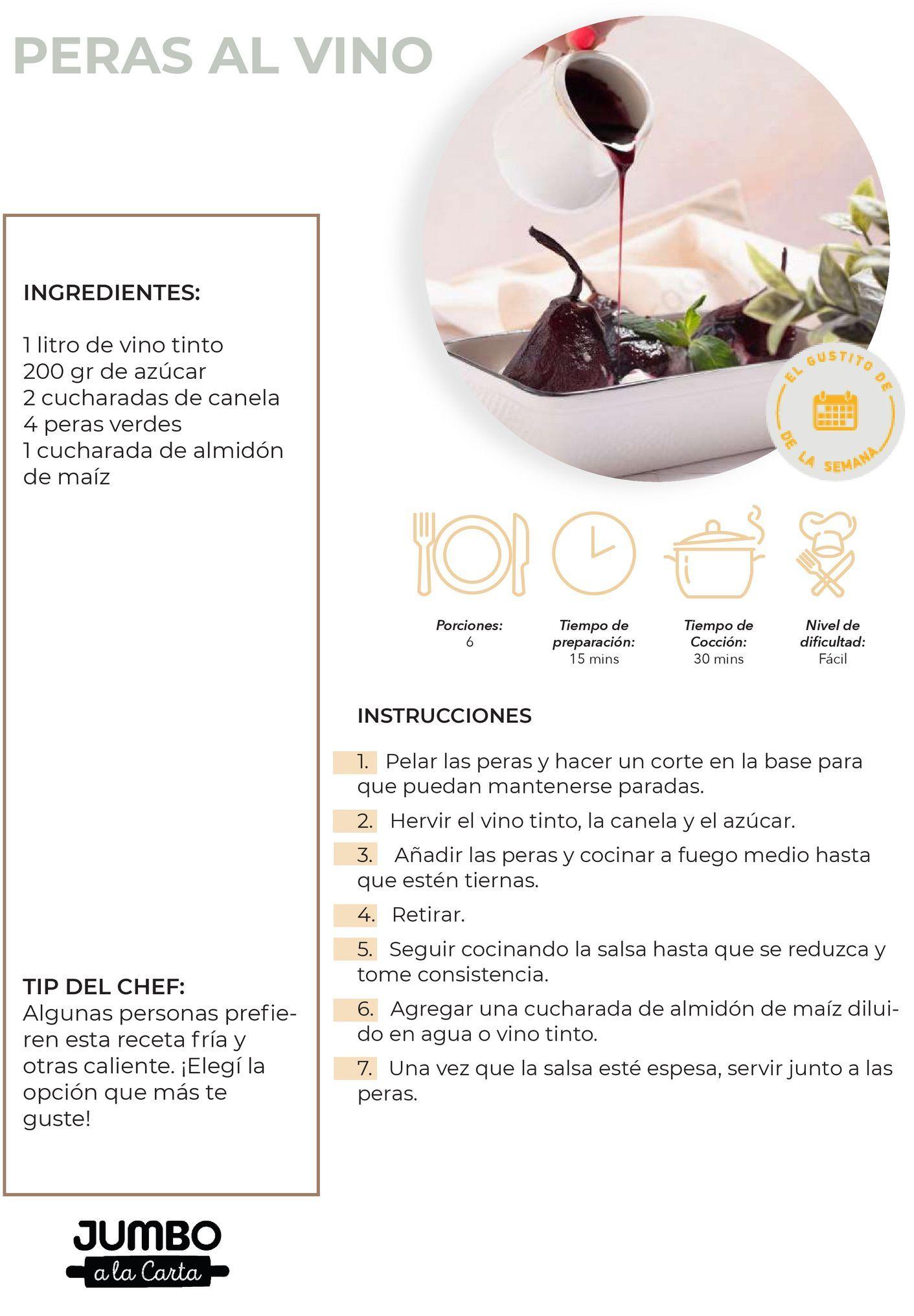 Oferta de Peras al vino por