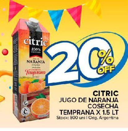 Oferta de Jugo de naranja Citric 1.5 lt por