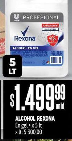 Oferta de Alcohol Rexona 5 lt por $1499,99