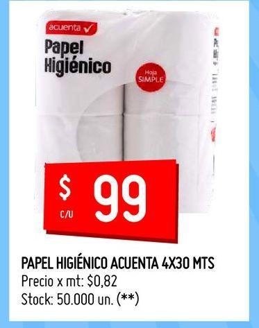Oferta de PAPEL HIGIÉNICO ACUENTA 4X30 MTS por $99