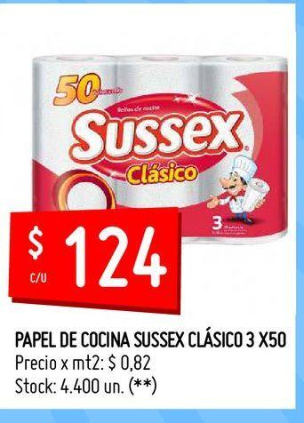 Oferta de PAPEL DE COCINA SUSSEX CLÁSICO 3 X50 por $124