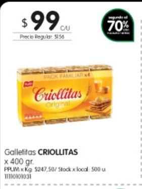 Oferta de Galletitas CRIOLLITAS x 400 gr por $99
