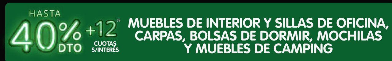 Oferta de MUEBLES DE INTERIOR Y SILLAS DE OFICINA, CARPAS, BOLSAS DE DORMIR, MOCHILAS Y MUEBLES DE CAMPING por