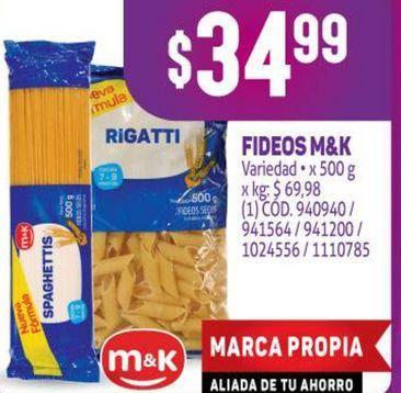 Oferta de Fideos M&K por $34,99