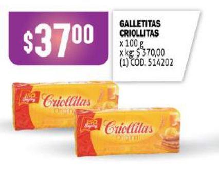 Oferta de Galletas Criollitas por $37