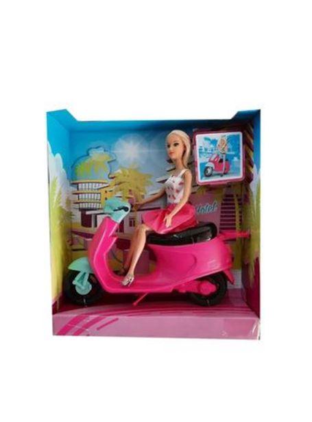 Oferta de Muñeca Kiara Y Su  Moto Vestido Estrella Pollera Rosa por $2790