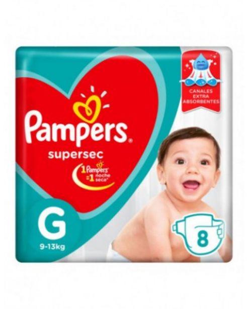 Oferta de Panales Pampers Supersec G 8 Unidades por $187,99