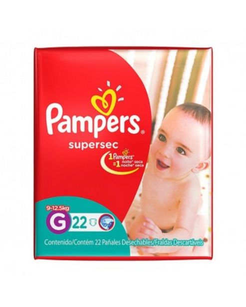 Oferta de Panales Pampers Supersec G 22 Unidades por $466,99