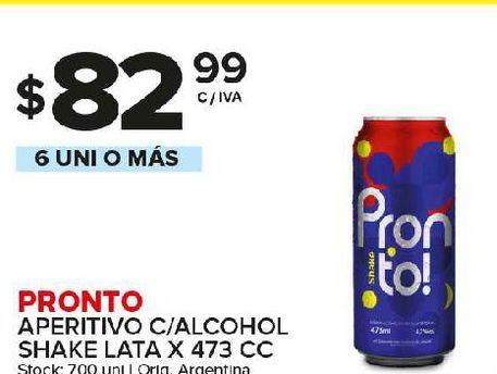 Oferta de Bebidas alcohólicas Pronto por $82,99