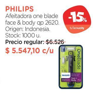 Oferta de Afeitadora one blade face & body qp 2620. por $5547,1