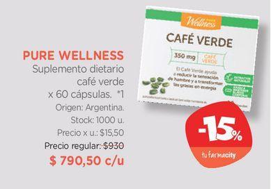 Oferta de Suplemento dietario café verde x 60 cápsulas. por $790,5