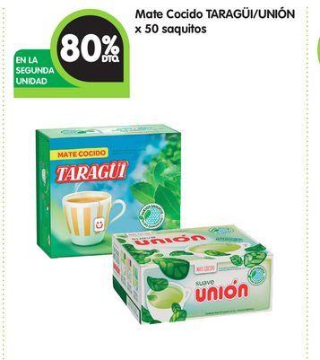 Oferta de Mate Cocido TARAGÜI/UNIÓN x 50 saquitos -80% por