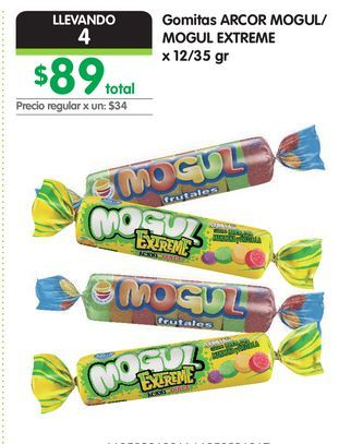 Oferta de Gomitas ARCOR MOGUL/ MOGUL EXTREME x 12/35 gr por $89