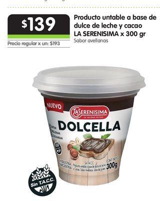 Oferta de Producto untable a base de dulce de leche y cacao LA SERENISIMA x 300 gr por $139