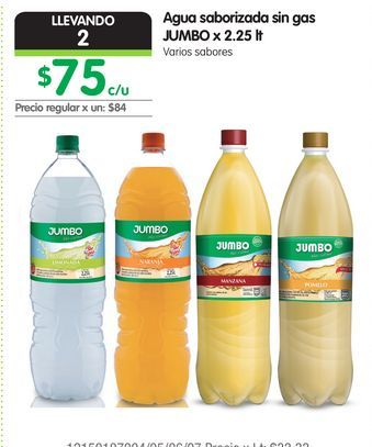 Oferta de Agua saborizada sin gas JUMBO x 2.25 lt por $75