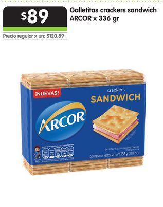 Oferta de Galletitas crackers sandwich ARCOR x 336 gr por $89