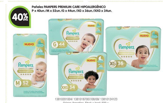 Oferta de Pañales PAMPERS PREMIUM CARE HIPOALERGÉNICO -40% por