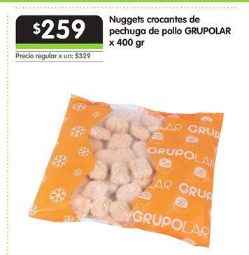 Oferta de Nuggets crocantes de pechuga de pollo GRUPOLAR x 400 gr por $259