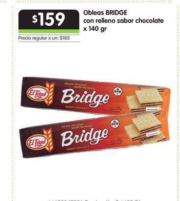 Oferta de Obleas BRIDGE con relleno sabor chocolate x 140 gr por $159
