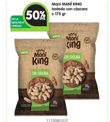 Oferta de Maní MANÍ KING tostado con cáscara x 175 gr por